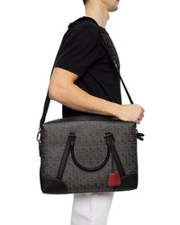 Ferragamo Travel Gancini Print Single-gusset Satchel - Black