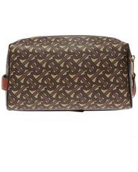 Burberry Patterned Wash Bag Unisex Brown