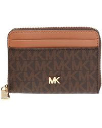 Michael Kors Wallet With Metal Logo - Brown