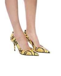 Versace Baroque Printed Court Shoes - Yellow