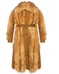 Stella McCartney Belted Fur Coat - Brown