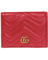 Gucci - 'GG Marmont' Quilted Card Case - Lyst