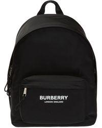 Burberry Logo-print Leather-trimmed Nylon Backpack - Black