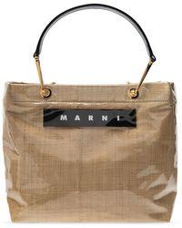 Marni Glossy Grip Tote Bag Raffia - Natural