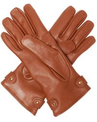 Moschino Leather Gloves With Logo Brown