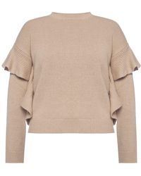 RED Valentino Sweater With Ruffles - Natural