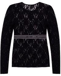 Dolce & Gabbana Openwork Long Sleeve Top Black