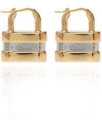 Chloé Brass Earrings With Logo - Metallic