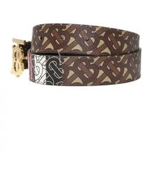Burberry Monogram Stripe E-canvas And Leather Belt - Brown