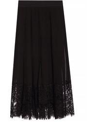 Dolce & Gabbana Pleated Silk Georgette & Lace Midi Skirt - Black