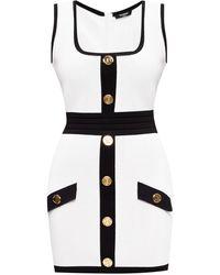Balmain Sleeveless Dress White
