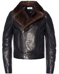 Saint Laurent Fur-trim Biker Jacket - Black