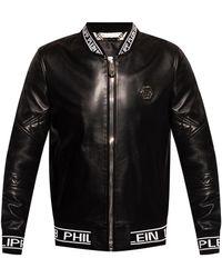 Philipp Plein Leather Bomber Jacket Black