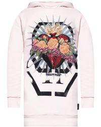 Philipp Plein Hooded Sweatshirt Dress - Pink