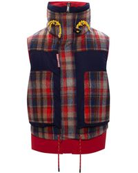 DSquared² Quilted Down Vest Navy Blue