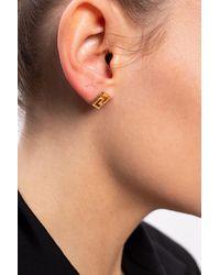 Versace - Logo Earrings Gold - Lyst