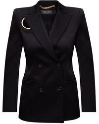 Versace Blazer With Notched Lapels - Black