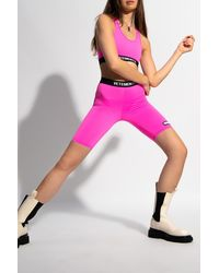 Vetements Cropped Leggings With Logo - Pink