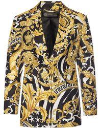 Versace Baroque Print Silk Blazer - Yellow