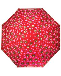Moschino Patterned Umbrella With Teddy Bear - Red