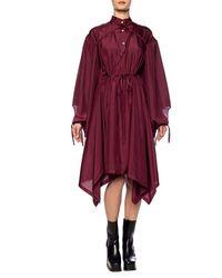 Lanvin Silk Dress With Tie Closures Burgundy - Red