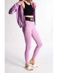 DIESEL Leggings With Logo Pink - Purple