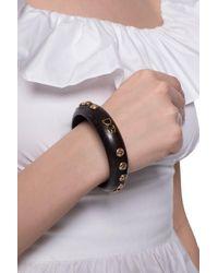 Dolce & Gabbana Wood Bracelet With Logo Brown