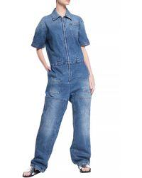 Fendi Denim Jumpsuit With Pockets - Blue