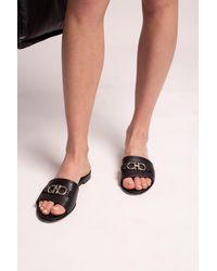 Ferragamo Gancini Leather Slide - Black