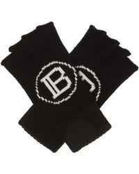 Balmain Fingerless Gloves - Black