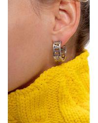 Balenciaga Round Earrings With Logo Silver - Metallic