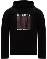 DIESEL Printed Hoodie - Black