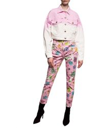 Versace Jeans Patterned Jeans With Logo - Pink