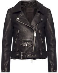 AllSaints Luna Leather Biker Jacket - Black