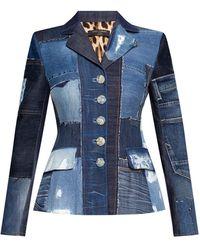 Dolce & Gabbana Denim Blazer With Notch Lapels - Blue