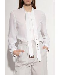 Michael Kors Tie-up Silk Shirt - White