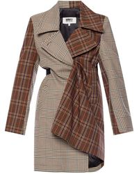 MM6 by Maison Martin Margiela - Checked Coat - Lyst