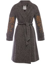 Moschino Wool Coat With A Belt - Gray