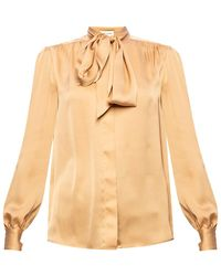 Saint Laurent Tie Neck Shirt Beige - Natural