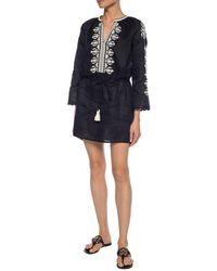 Tory Burch Linen Mini Dress - Black
