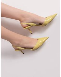 Jimmy Choo Stiletto Court Shoes With Logo - Yellow