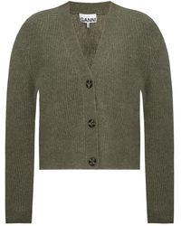 Ganni Rib-knit Cardigan - Green