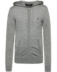 AllSaints - 'mode' Logo-embroidered Sweatshirt Grey - Lyst