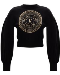 Versace Jeans Couture Sweater With Logo Black