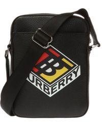 Burberry Thornton Graphic Logo Shoulder Bag - Black
