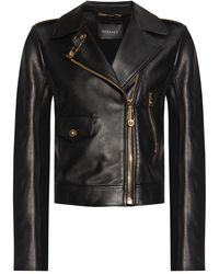 Versace Leather Biker Jacket Black
