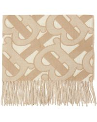 Burberry Patterned Scarf With Fringes - Natural