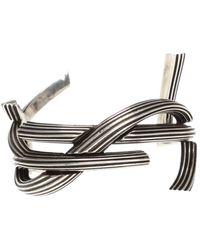 Saint Laurent - Monogram Cuff Bracelet In Striated Brass - Lyst