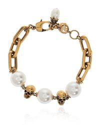 Alexander McQueen Pearl-embellished Bracelet Gold - Metallic