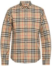Burberry Vintage Check Cotton Flannel Shirt - Natural
